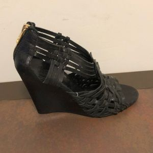 Tory Burch size 8.5 black wedge sandals